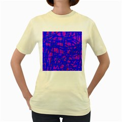 Blue Pattern Women s Yellow T Shirt