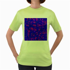 Blue Pattern Women s Green T Shirt