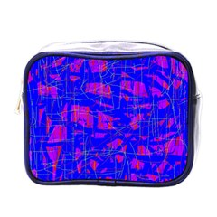 Blue Pattern Mini Toiletries Bags by Valentinaart