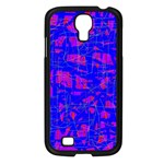 Blue pattern Samsung Galaxy S4 I9500/ I9505 Case (Black) Front