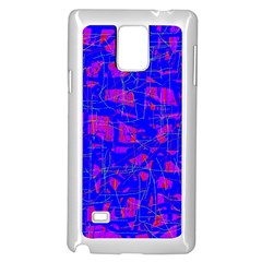 Blue Pattern Samsung Galaxy Note 4 Case (white) by Valentinaart