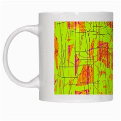 Yellow And Orange Pattern White Mugs by Valentinaart