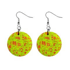 Yellow And Orange Pattern Mini Button Earrings by Valentinaart