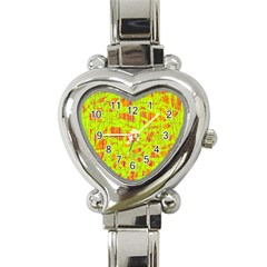 Yellow And Orange Pattern Heart Italian Charm Watch by Valentinaart