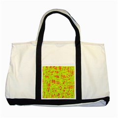 Yellow And Orange Pattern Two Tone Tote Bag by Valentinaart