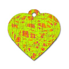 Yellow And Orange Pattern Dog Tag Heart (one Side) by Valentinaart
