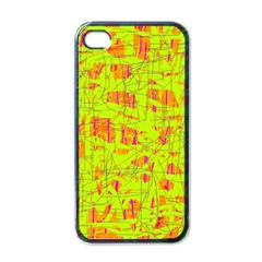 Yellow And Orange Pattern Apple Iphone 4 Case (black) by Valentinaart