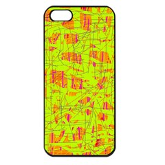 Yellow And Orange Pattern Apple Iphone 5 Seamless Case (black) by Valentinaart