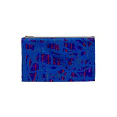 Deep Blue Pattern Cosmetic Bag (small)  by Valentinaart