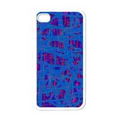 Deep Blue Pattern Apple Iphone 4 Case (white) by Valentinaart