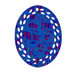 Deep Blue Pattern Ornament (oval Filigree)  by Valentinaart