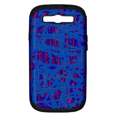Deep Blue Pattern Samsung Galaxy S Iii Hardshell Case (pc+silicone) by Valentinaart