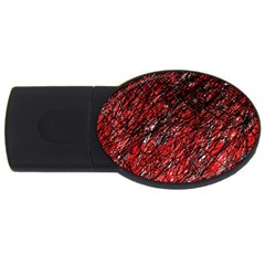 Red And Black Pattern Usb Flash Drive Oval (2 Gb)  by Valentinaart
