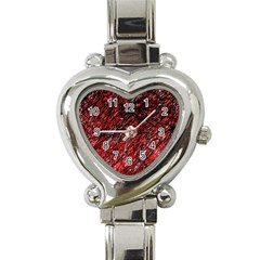 Red And Black Pattern Heart Italian Charm Watch by Valentinaart