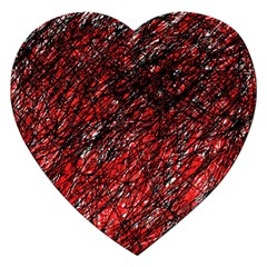Red And Black Pattern Jigsaw Puzzle (heart) by Valentinaart