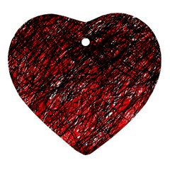 Red And Black Pattern Heart Ornament (2 Sides) by Valentinaart