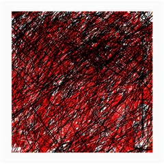 Red And Black Pattern Medium Glasses Cloth (2 Side) by Valentinaart