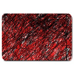 Red And Black Pattern Large Doormat  by Valentinaart