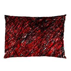 Red And Black Pattern Pillow Case by Valentinaart
