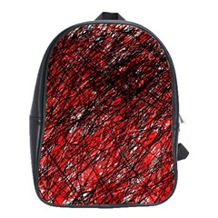 Red And Black Pattern School Bags(large)  by Valentinaart