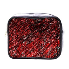 Red And Black Pattern Mini Toiletries Bags by Valentinaart