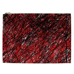 Red And Black Pattern Cosmetic Bag (xxl)  by Valentinaart