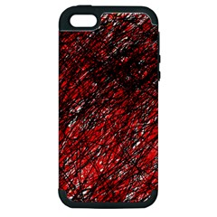 Red And Black Pattern Apple Iphone 5 Hardshell Case (pc+silicone) by Valentinaart