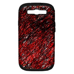 Red And Black Pattern Samsung Galaxy S Iii Hardshell Case (pc+silicone) by Valentinaart