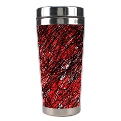 Red And Black Pattern Stainless Steel Travel Tumblers by Valentinaart
