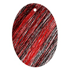 Red And Black Elegant Pattern Ornament (oval)  by Valentinaart