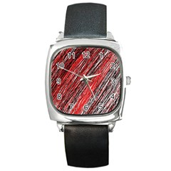 Red And Black Elegant Pattern Square Metal Watch by Valentinaart
