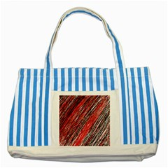 Red And Black Elegant Pattern Striped Blue Tote Bag by Valentinaart