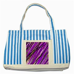 Purple Pattern Striped Blue Tote Bag by Valentinaart