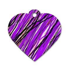Purple Pattern Dog Tag Heart (two Sides) by Valentinaart
