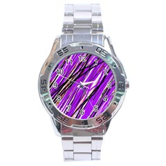 Purple Pattern Stainless Steel Analogue Watch by Valentinaart