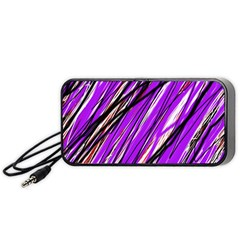 Purple Pattern Portable Speaker (black)  by Valentinaart
