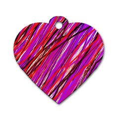 Purple Pattern Dog Tag Heart (one Side) by Valentinaart