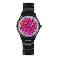 Purple Pattern Stainless Steel Round Watch by Valentinaart