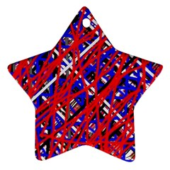 Red And Blue Pattern Ornament (star)  by Valentinaart