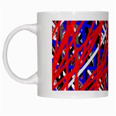 Red And Blue Pattern White Mugs by Valentinaart
