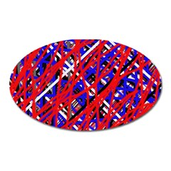 Red And Blue Pattern Oval Magnet by Valentinaart