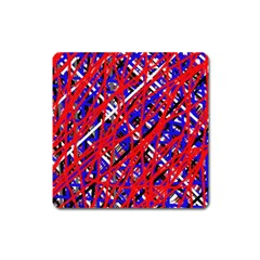 Red And Blue Pattern Square Magnet by Valentinaart