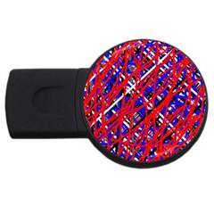 Red And Blue Pattern Usb Flash Drive Round (2 Gb)  by Valentinaart