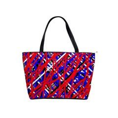 Red And Blue Pattern Shoulder Handbags by Valentinaart