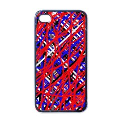 Red And Blue Pattern Apple Iphone 4 Case (black) by Valentinaart