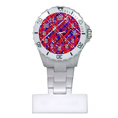Red And Blue Pattern Plastic Nurses Watch by Valentinaart