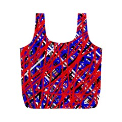 Red And Blue Pattern Full Print Recycle Bags (m)  by Valentinaart