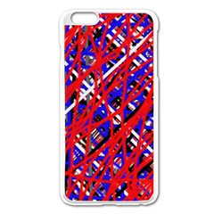 Red And Blue Pattern Apple Iphone 6 Plus/6s Plus Enamel White Case by Valentinaart