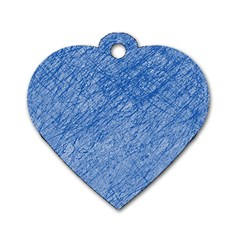 Blue Pattern Dog Tag Heart (one Side) by Valentinaart