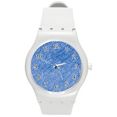 Blue Pattern Round Plastic Sport Watch (m) by Valentinaart